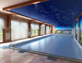 натяжной потолок в бассейне плюсы и минусы