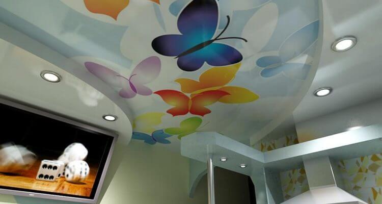 Натяжные потолки с рисунком в Рязани