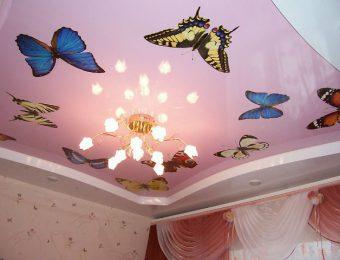 натяжные потолки с рисунком с подсветкой