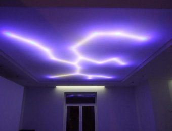 одноуровневые натяжной потолок с подсветкой